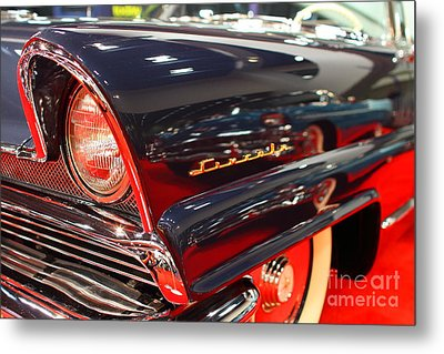 1956 Lincoln Premiere Convertible . Blue . 7d9249 Metal Print by Wingsdomain Art and Photography