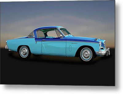 Metal Print featuring the photograph 1956 Studebaker Sky Hawk Coupe  -  1956studebakerskyhawk170517 by Frank J Benz