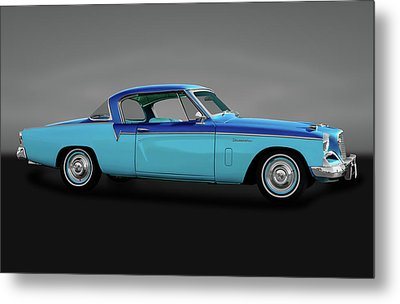 Metal Print featuring the photograph 1956 Studebaker Sky Hawk Coupe  -  1956studebakerskyhawkgry170517 by Frank J Benz