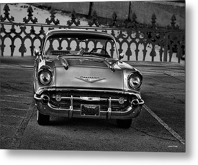 1957 Chevy At The Gate Bw Metal Print by Lesa Fine