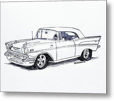 1957 Chevy Bel Air - Graphite Pencil Metal Print