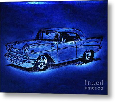 1957 Chevy Bel Air - Moonlight Cruisin  Metal Print
