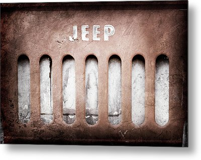 Metal Print featuring the photograph 1957 Jeep Emblem -0597ac by Jill Reger