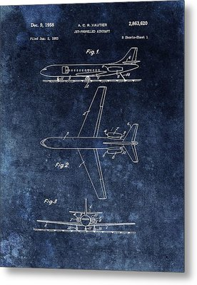 1958 Airplane Patent Blue Metal Print by Dan Sproul