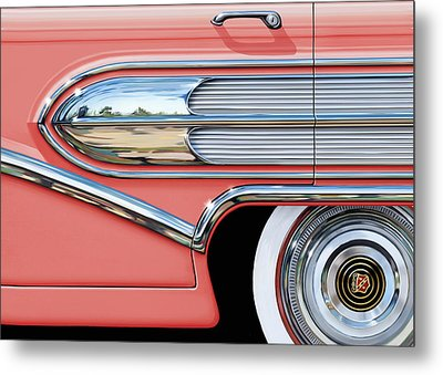 1958 Buick Side Chrome Bullet Metal Print by David Kyte