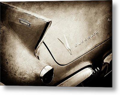 1958 Cadillac Eldorado Biarritz Taillight Emblems -0255s Metal Print by Jill Reger
