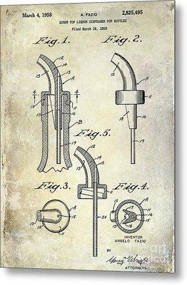 1958 Liquor Bottle Pour Patent Metal Print