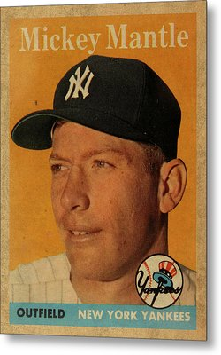 1958 Topps Baseball Mickey Mantle Card Vintage Poster Metal Print by Design Turnpike