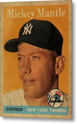 1958 Topps Baseball Mickey Mantle Card Vintage Poster Metal Print