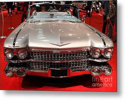 1959 Cadillac Convertible . Front View Metal Print by Wingsdomain Art and Photography