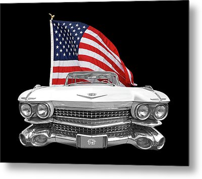 1959 Cadillac With Us Flag Metal Print by Gill Billington
