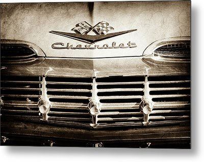 Metal Print featuring the photograph 1959 Chevrolet Impala Grille Emblem -1014s by Jill Reger