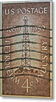1959 First Oil Well Stamp Metal Print