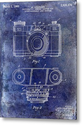 1960 Camera Patent Blue Metal Print by Jon Neidert
