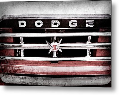 Metal Print featuring the photograph 1960 Dodge Truck Grille Emblem -0275ac by Jill Reger