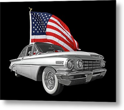 1960 Oldsmobile With Us Flag Metal Print