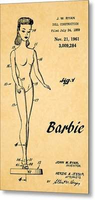 1961 Barbie Doll Patent Art 5 Metal Print