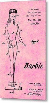 1961 Barbie Doll Patent Art 7 Metal Print