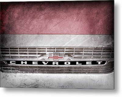 Metal Print featuring the photograph 1961 Chevrolet Corvair Pickup Truck Grille Emblem -0130ac by Jill Reger