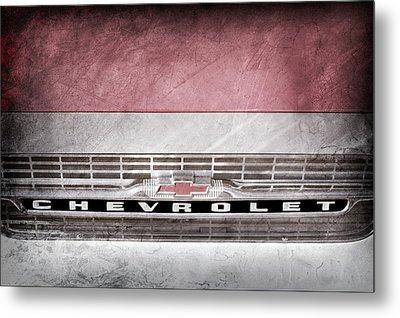 1961 Chevrolet Corvair Pickup Truck Grille Emblem -0130ac Metal Print by Jill Reger