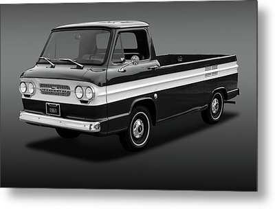 Metal Print featuring the photograph 1961 Chevrolet Corvair Rampside  -  61corvairrampsidebw172180 by Frank J Benz