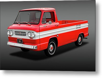 Metal Print featuring the photograph 1961 Chevrolet Corvair Rampside Truck  -  1961chevcorvairrampsidefa172180 by Frank J Benz