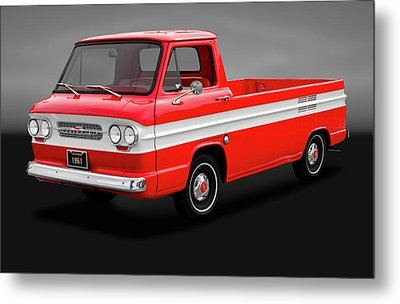 Metal Print featuring the photograph 1961 Chevrolet Corvair Rampside Truck  -  1961chevycorvairgry172180 by Frank J Benz