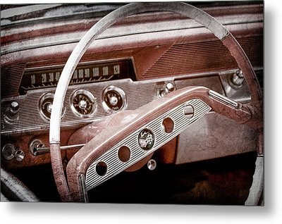 Metal Print featuring the photograph 1961 Chevrolet Impala Ss Steering Wheel Emblem -1156ac by Jill Reger