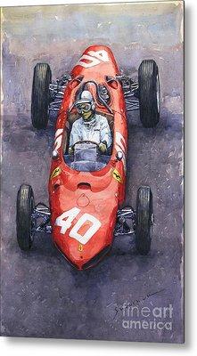 1962 Monaco Gp Willy Mairesse Ferrari 156 Sharknose Metal Print by Yuriy Shevchuk