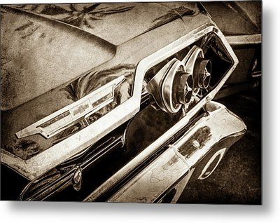 Metal Print featuring the photograph 1963 Chevrolet Taillight Emblem -0183s by Jill Reger