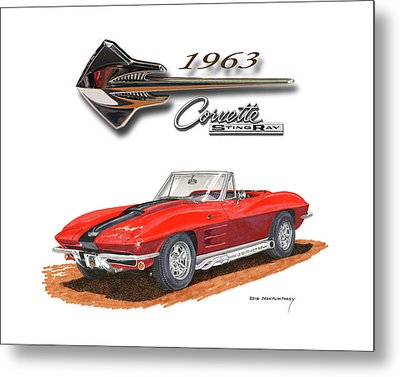 1963 Corvette Stingraw Roadster Metal Print by Jack Pumphrey