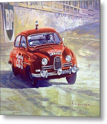 1963 Saab 96 #283  Rallye Monte Carlo  Carlsson Palm Winner Metal Print by Yuriy Shevchuk