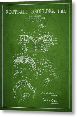1964 Football Shoulder Pad Patent - Green Metal Print by Aged Pixel