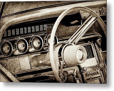 Metal Print featuring the photograph 1964 Ford Thunderbird Steering Wheel -0280s by Jill Reger