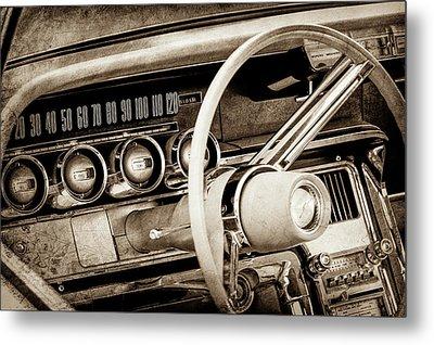 1964 Ford Thunderbird Steering Wheel -0280s Metal Print by Jill Reger