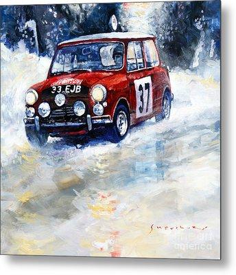 1964 Rallye Monte Carlo Mini Cooper S Hopkirk Liddon Winner Metal Print by Yuriy Shevchuk