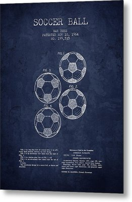 1964 Soccer Ball Patent - Navy Blue - Nb Metal Print by Aged Pixel