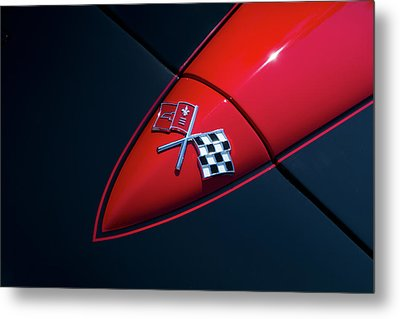 Metal Print featuring the photograph 1965 Corvette Hood by Joel Witmeyer