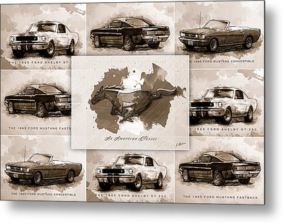 1965 Ford Mustang Collage I Metal Print by Gary Bodnar