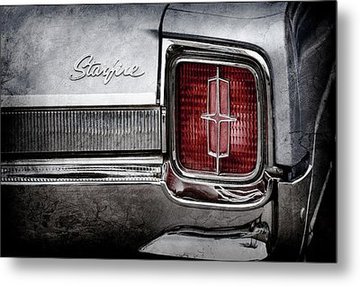 Metal Print featuring the photograph 1965 Oldsmobile Starfire Taillight Emblem -0212ac by Jill Reger
