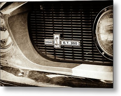Metal Print featuring the photograph 1967 Ford Gt 350 Shelby Clone Grille Emblem -0759s by Jill Reger