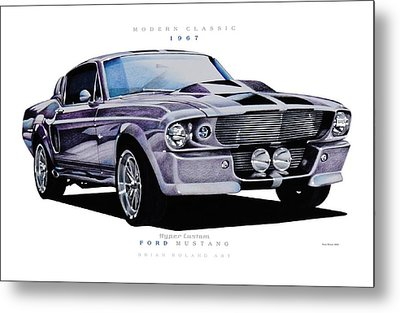 1967 Ford Mustang Hyper Custom Metal Print by Brian Roland