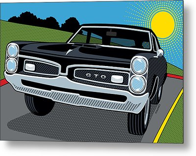Metal Print featuring the digital art 1967 Pontiac Gto Sunday Cruise by Ron Magnes