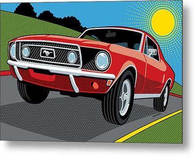 Metal Print featuring the digital art 1968 Ford Mustang Sunday Cruise by Ron Magnes