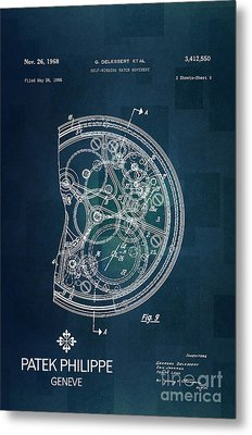 1968 Patek Philippe Patent 1 Metal Print by Nishanth Gopinathan