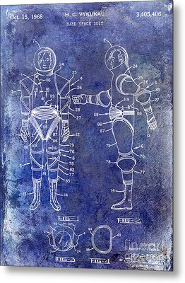 1968 Space Suit Patent Blue Metal Print by Jon Neidert