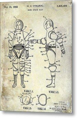 1968 Space Suit Patent Metal Print by Jon Neidert