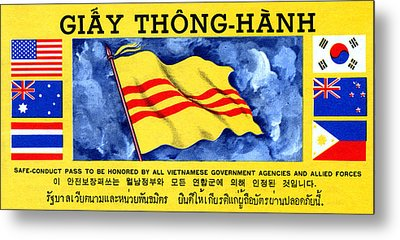 Metal Print featuring the painting 1968 Vietnam War Safe Conduct Pass by Historic Image