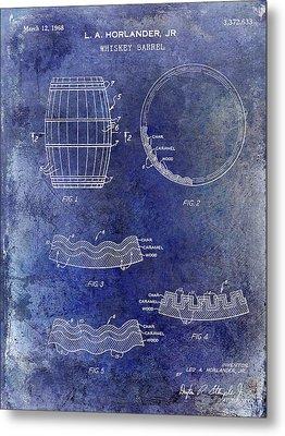 1968 Whiskey Barrel Patent Blue Metal Print