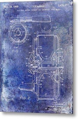 1969 Fly Reel Patent Blue Metal Print by Jon Neidert